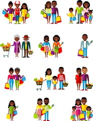 Vector illustration african american people, family in the shop.