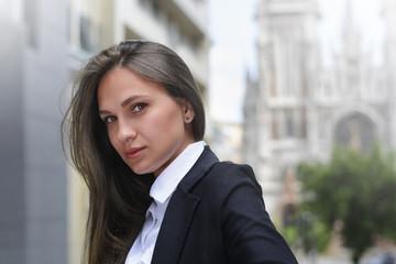 Beauty smiling business girl (teacher, student, schoolgirl)