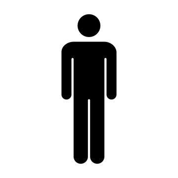 Man icon vector male symbol sign in a flat color glyph pictogram illustration