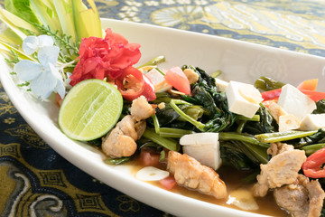 Cah Kangkung; Indonesian fried water spinach plate