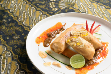 Lumpia; Indonesian traditional spring roll plate