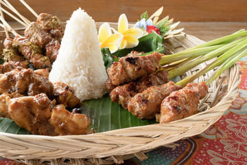 Sate Ayam and Nasi Putih; Indonesian chicken satay with steamed rice
