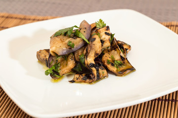 Eggplant with olive oil and parsley