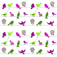 Birds on a wire. Seamless pattern with cute cartoon birds in green and purple colors. Vector background.