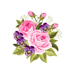 Beautiful bouquet isolated on white.