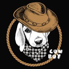Image Portrait of a dog in a cowboy hat and cravat. Vector illustration.