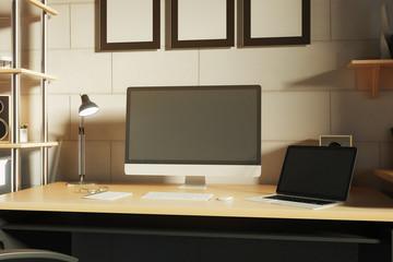 Creative designer desktop closeup