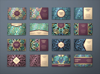 Vector vintage business cards big set..