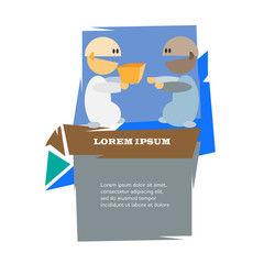 Two cartoon men with present vector illustration.