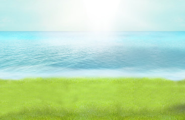 green grass beach paradise photo and 3D render background
