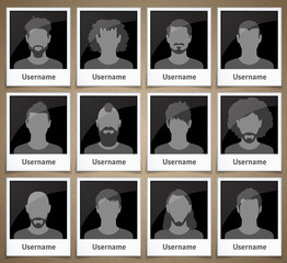 Set of male avatars in the form of picture frames with silhouettes