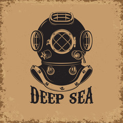 Deep Sea. Old style diver helmet on grunge background.