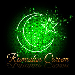 Ramadan Kareem beautiful greeting card - crescent and star on shining green background with islamic pattern.