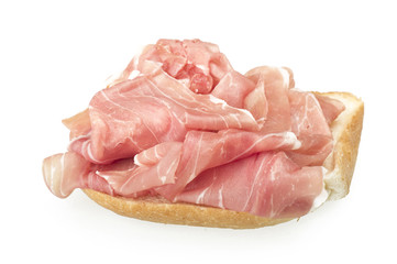 sandwich with Italian prosciutto crudo ,raw ham leg sliced