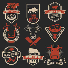 Set of fresh beef labels. Butchery shop emblems.  Design element