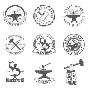 Set of blacksmith, iron works labels, badges and design elements