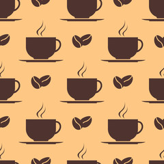 Seamless pattern with cup of coffee and beans. Vector texture.
