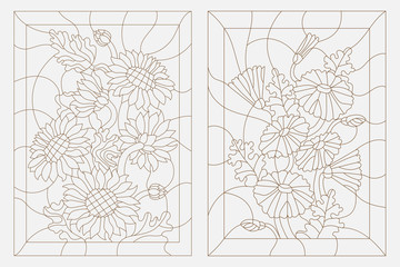 Set contour illustrations in the stained glass style, sunflowers and daisies, dark outline on a white background