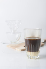 Set of slow coffee drip, selective focus
