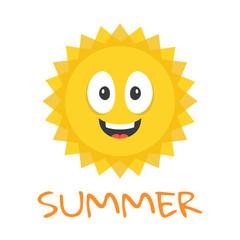 Cute sun character. Funny smiling sun mascot and summer title. Cartoon vector illustration