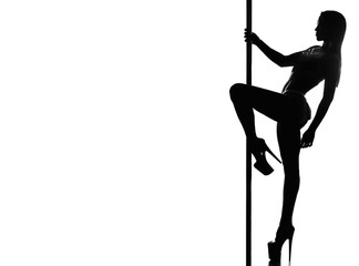 Beautiful woman performing pole dance. Studio shot, on white background. silhouette Wall mural