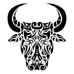 ornamental bull head / tattoo illustration