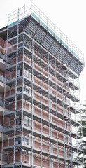 Scaffolding on a construction site