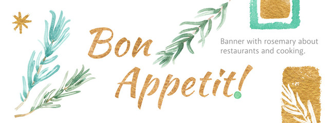 Watercolor template banner design with spices cooking for restaurant website homepage screen. Bon Appetit!