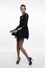 little black dress fashion model posing