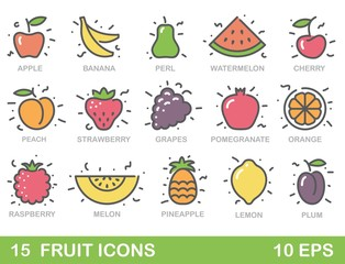 Stylized illustrations of fruit. Vector icons