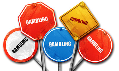 gambling, 3D rendering, rough street sign collection