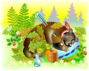 Illustration of ill bear, vector cartoon image.