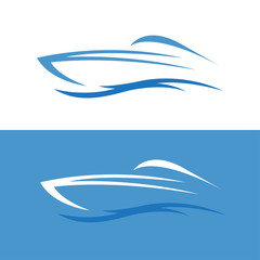 abstract fast boat outline vector design template