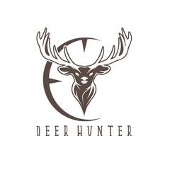 deer head with target vector design template