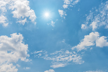 Sky, Blue sky, Blue sky with clouds and sun reflection