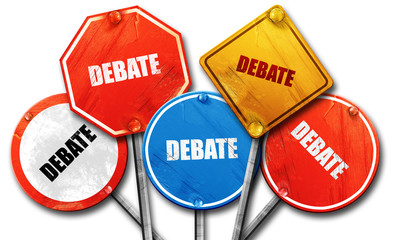 debate, 3D rendering, rough street sign collection