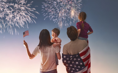 Patriotic holiday and happy family