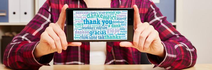 Danke in vielen Sprachen auf Smartphone