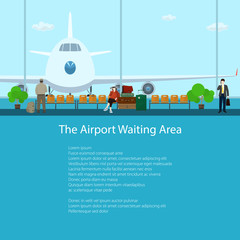 The Airport Waiting Area with People, View on Airplane through the Window from a Waiting Room , Travel and Tourism Concept, Flat Design, Vector Illustration