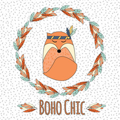 Boho fox in feather wreath in hand drawn style and
