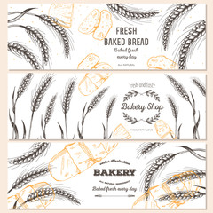 Banner set. Vector illustration in sketch style. Hand drawn bread horizontal banners.
