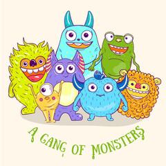Cartoon cute character Monsters. Vector illustration.