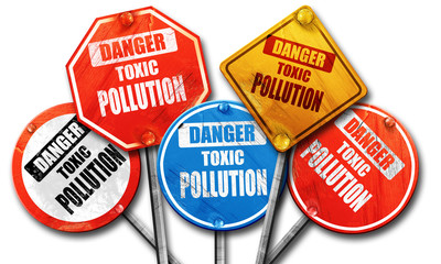Pollution waste sign, 3D rendering, rough street sign collection