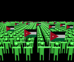 Crowd of abstract people with many Jordanian flags illustration