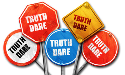 truth or dare, 3D rendering, rough street sign collection