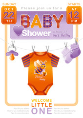 Unisex baby shower invitation design with body suit, socks, soother in orange and violet color. Cute bee icon.