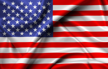 America flag of silk illustration