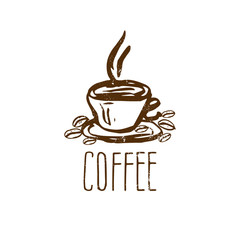 Hand drawn logo with coffee cup. Vector illustration
