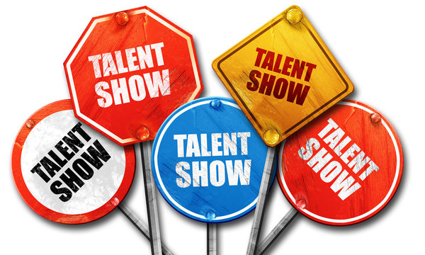 talent show, 3D rendering, rough street sign collection