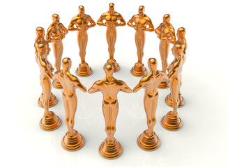 Oscar statues circular array towards the middle
